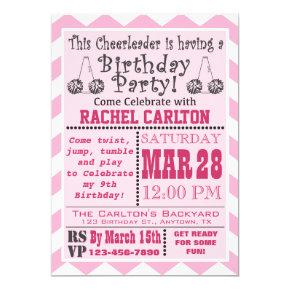 A Pink Cheerleading Birthday Party Invitation