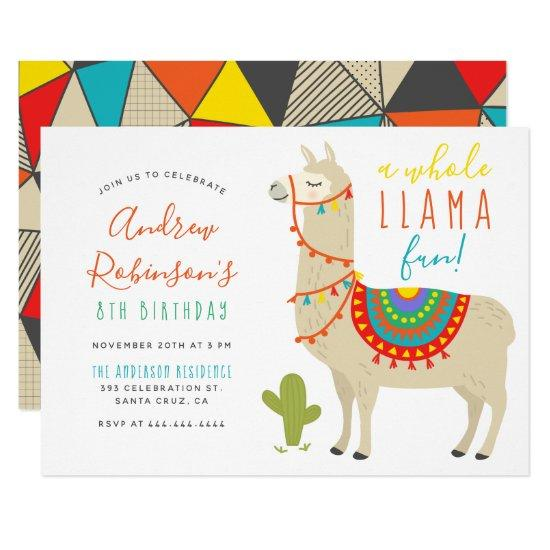 a whole llama fun animal birthday party invitations candied clouds