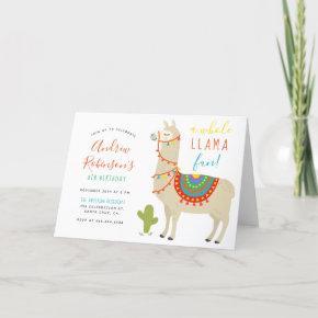 A Whole Llama Fun Animal Birthday Party Invitation