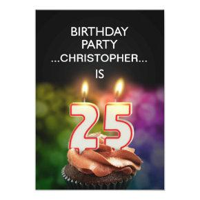 Add a name, 25th Birthday party Invitation