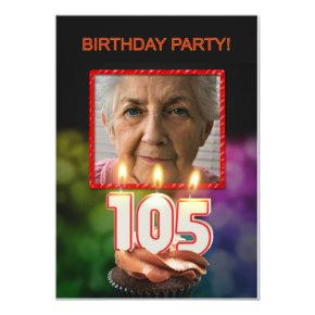 Add a picture, 105th Birthday party Invitation