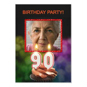 Add a picture, 90th Birthday party Invitation