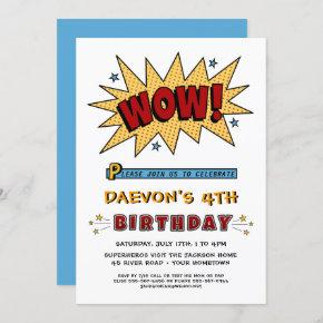 Add Name 4TH or Any Age Birthday Party Invitation