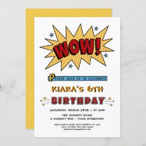 Add Name 6TH or Any Age Birthday Party Invitation