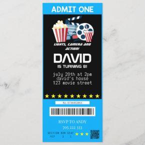 Admit One Movie Party Ticket Boy Birthday Tickets Invitation