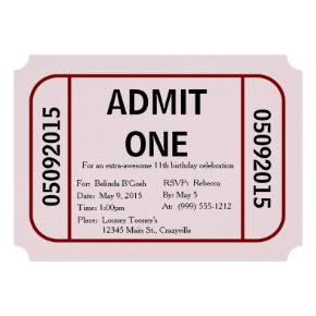 Admit One Ticket Birthday Invitations Candied Clouds