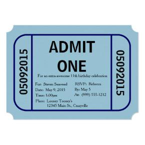 Admit One Ticket Birthday Party Invitation (Blue)