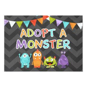 Adopt a Monster birthday Table sign Monster bash Invitation