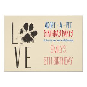 Adopt-A- Pet Birthday Party Paw Print Invitation