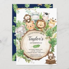 Adorable Jungle Animals Greenery 1st Birthday Invitation