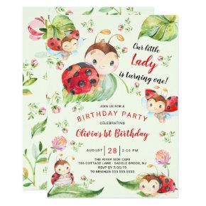 Adorable Little Lady Ladybug 1st Birthday Invitation