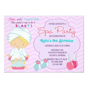 Adorable Pink Purple Spa Pampering Birthday Party Invitation