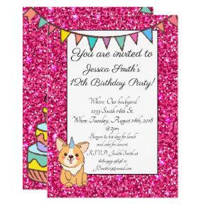 Adorable Unicorgi Glitter Birthday Invitation