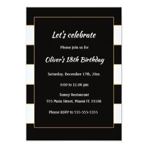 Adult Birthday Invitation Black White Striped Gold
