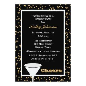 Adult Birthday Party Black and Gold Cheers Invitations