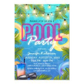 Adult Cocktail Pool Party Summer Birthday Invitation