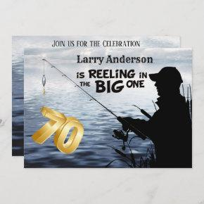 Adult Fisherman Milestone 70 Birthday the Big One Invitation