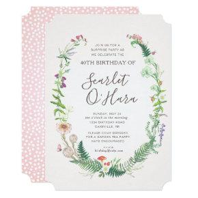 Adult Floral Birthday Invitation Any Age Milestone