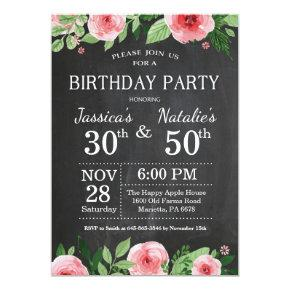 Adult Floral Chalkboard Joint Birthday Party Invitation