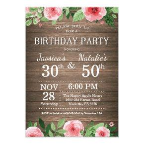 Adult Floral Rustic Joint Birthday Party Invitation