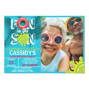 Adult Fun Sun Summer Photo Birthday Invitation