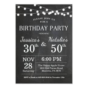 Adult Joint Birthday Party Invitation Chalkboard