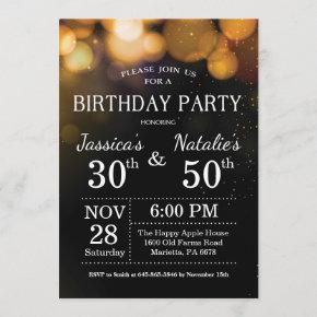 Adult Joint Birthday Party Invitation Gold Glitter