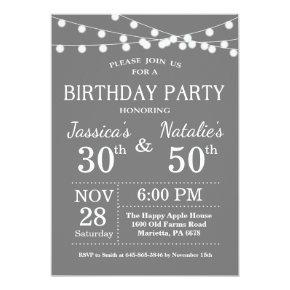 Adult Joint Birthday Party Invitation Gray