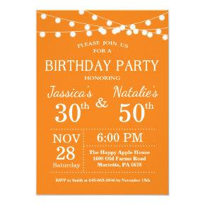 Adult Joint Birthday Party Invitation Orange