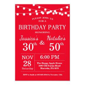 Adult Joint Birthday Party Invitation Red