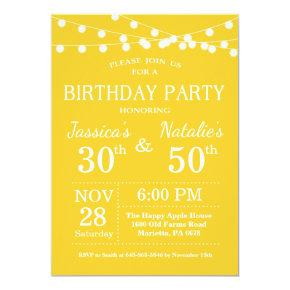 Adult Joint Birthday Party Invitation Yellow