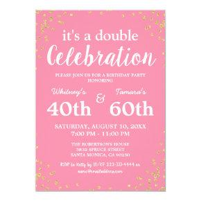 Adult Joint Birthday Party | Pink Gold Glitter Invitation