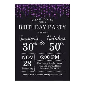 Adult Joint Birthday Party Purple Glitter Invitations