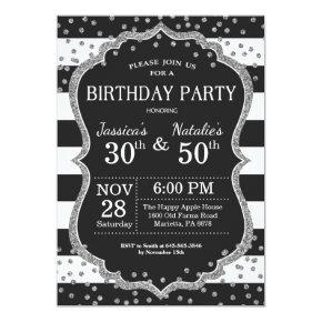 Adult Joint Birthday Party Silver Glitter Invitation