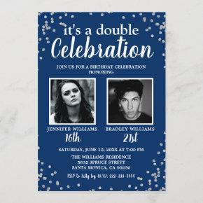Adult Photo Blue Silver Birthday Invitation