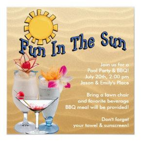 Adult Pool Party and BBQ Invitations