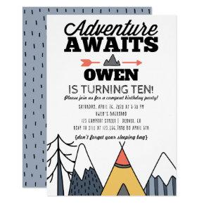 Adventure Awaits Modern Camp Out Birthday Party Invitation