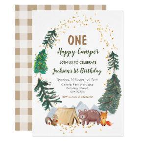 Adventure One Camper first birthday invitation
