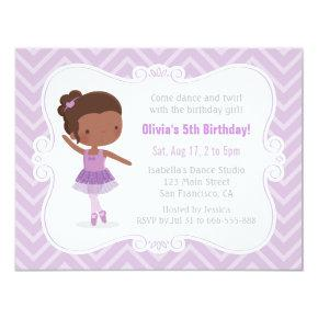 African American Ballerina Girl Birthday Party Invitations