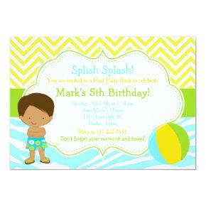 African American Boy Pool Party Bash Party Invitation