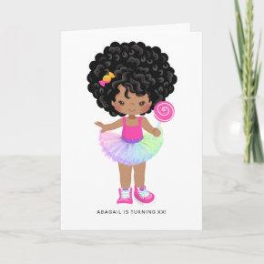 African American Candy Land Girl Birthday Party Invitation
