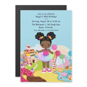 African American Candy Land Girl Birthday Party Magnetic Invitation