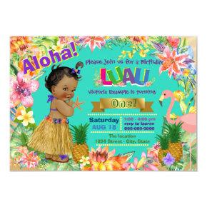 African American Girl Hawaiian Luau Birthday Party Invitations