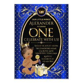 African American Prince First Birthday Party Invitation