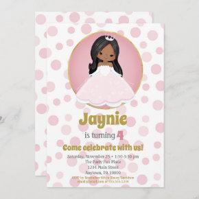 African American Princess Girl Birthday Invitation