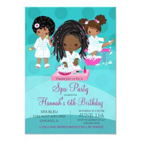 African American Spa Party Birthday Invitation