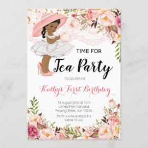 African American Tea Birthday Party Invitation