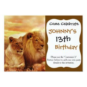 African lions - safari - wildlife invitation
