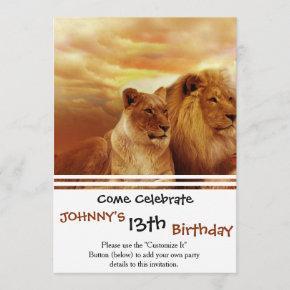 African lions - safari - wildlife invitation