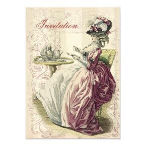 Afternoon Tea, on ivory, Invitation